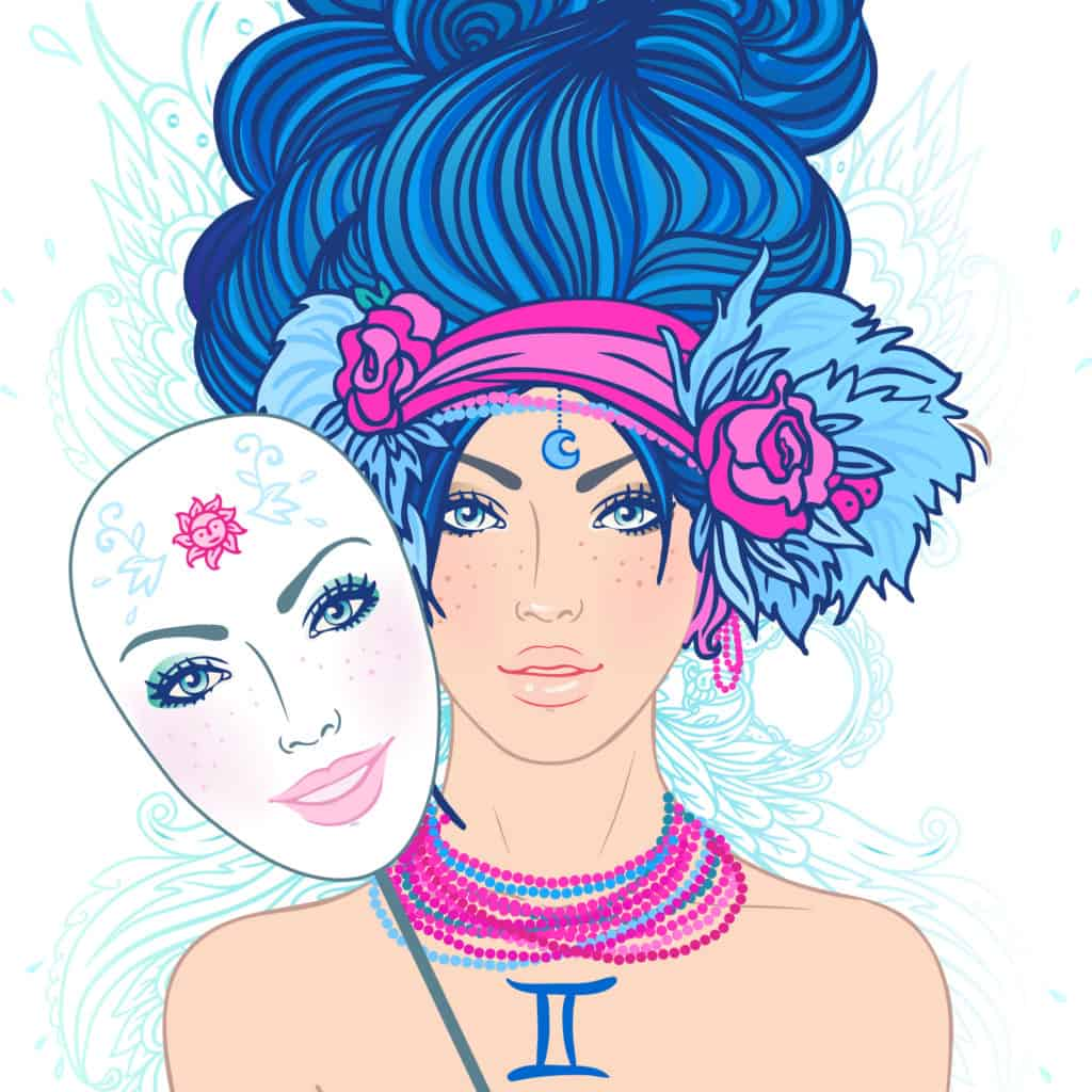 Illustration of gemini zodiac sign as a beautiful girl. Vector. (Young woman with sad expression holding a mask expressing cheerfulness)