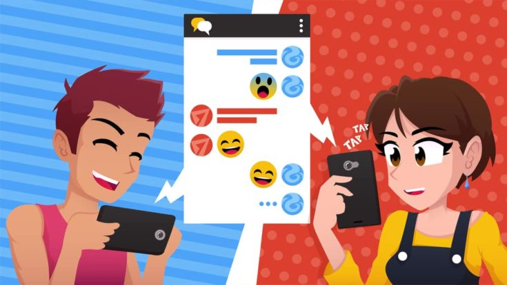 Friends couple chatting vector illustration