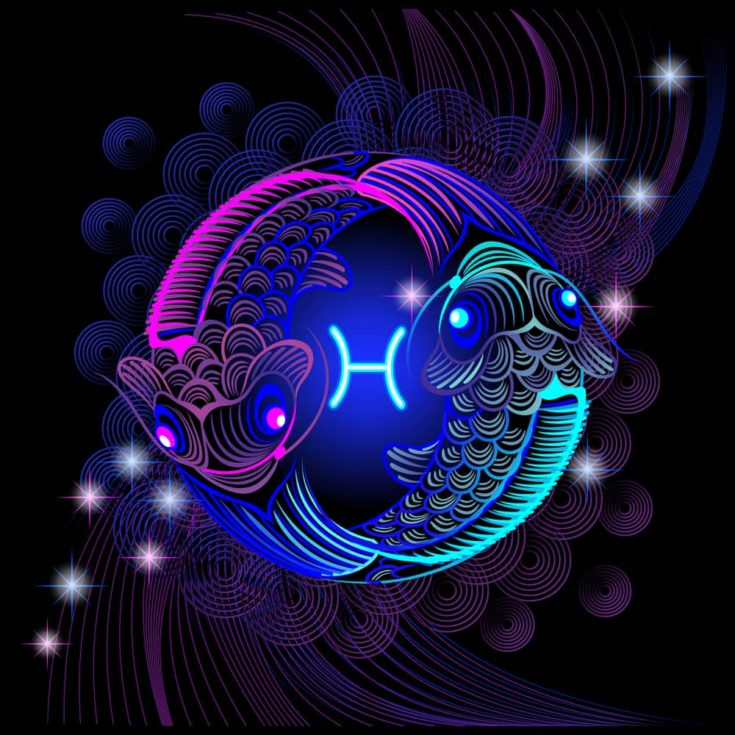 Neon sign of the zodiac Pisces