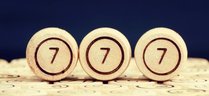Lucky number 777 on the wooden keg lotto