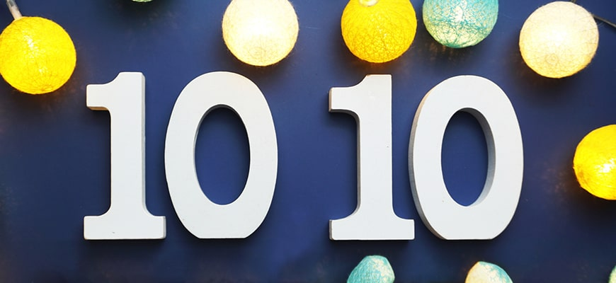 Number 1010 with LED cotton balls blue background