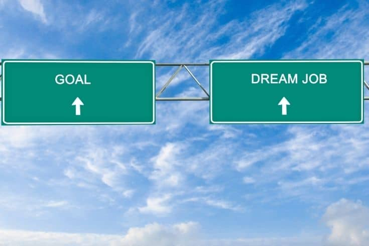 Road sign to goal and dream job highway sign
